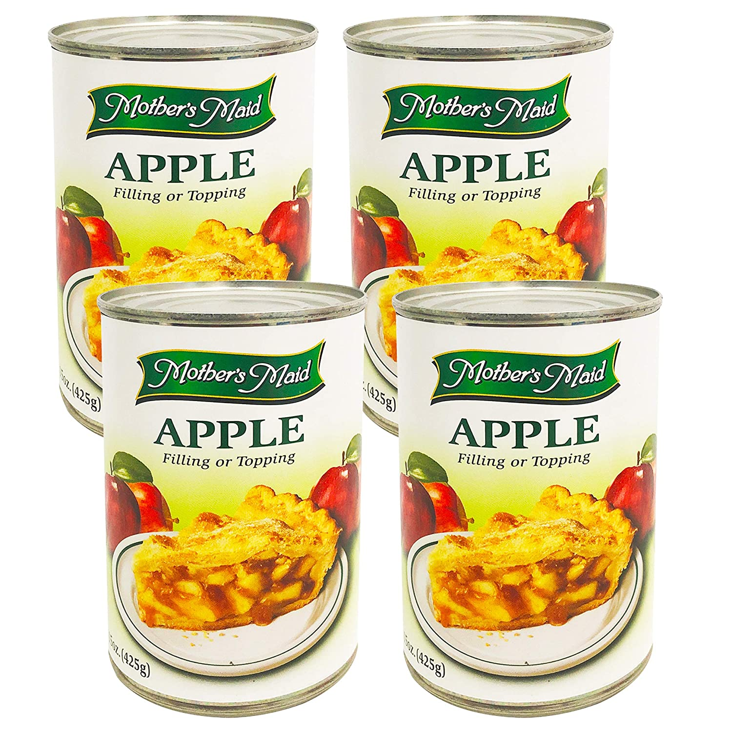 Apple Pie Filling & Topping (Pack of 4-15oz) 60 ounces Total - Makes 2 Apple Pies