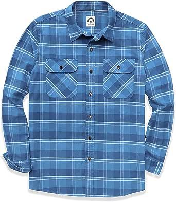 Dubinik® Camisa de franela a cuadros para hombre, manga larga, corte regular, para tiempo libre