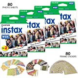 Fujifilm Instax Wide Instant Film and Frame Stickers – 80 Wide Format Photo Sheets, ISO800, Glossy Finish – 80 Bonus Fun Pict