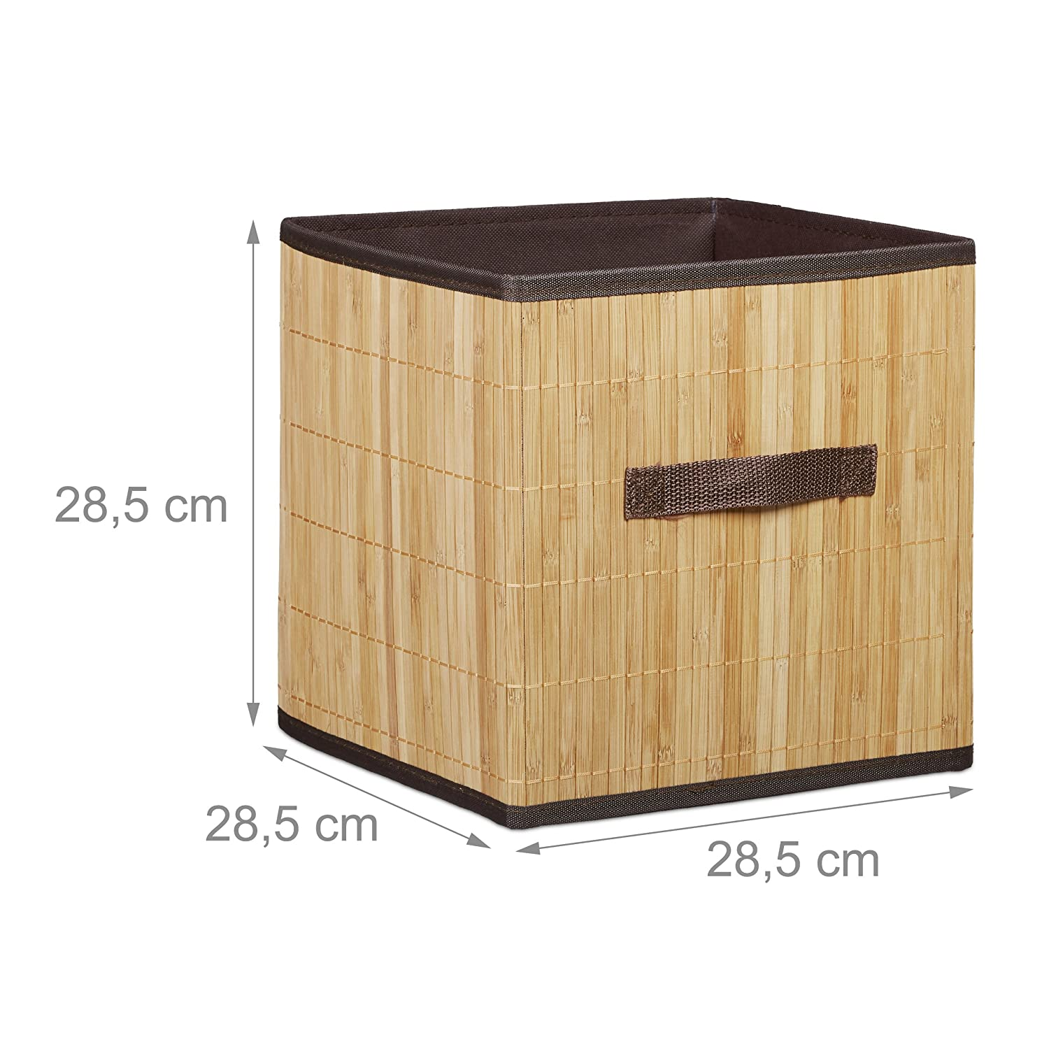 Relaxdays Folding Storage Box Bamboo-Look Square-Shaped with Handle Natural Brown 28.5 x 28.5 x 28.5 cm