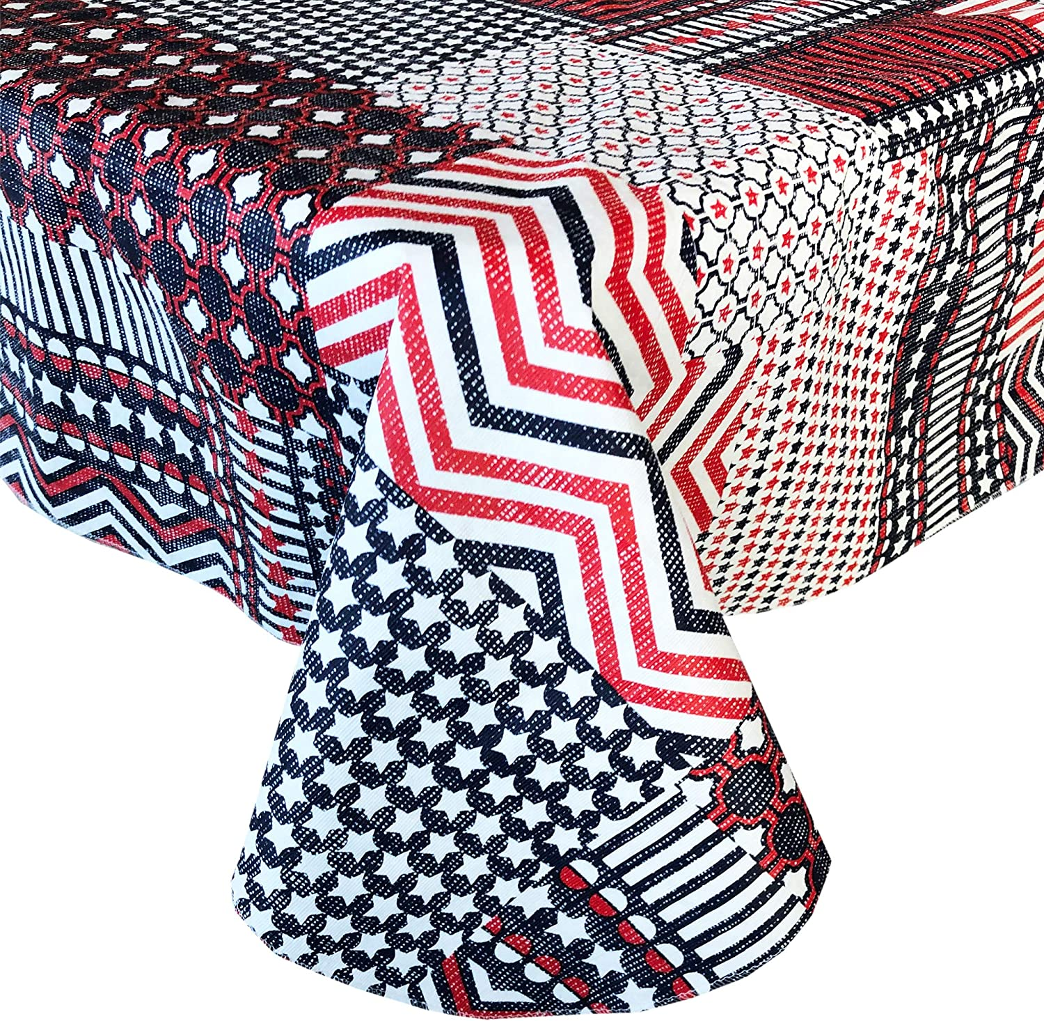 Home Bargains Plus Americana Patchwork Stars and Stripes Print Vinyl Flannel Backed Tablecloth - Red, White and Blue Patriotic Patchwork Indoor/Outdoor Tablecloth - 60 Round