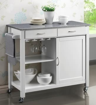 Genial Your Price Furniture Harrogate White Painted Hevea Hardwood Kitchen Trolley  Island Grey Granite Top Large Island