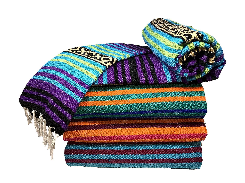 Spirit Quest Supplies Bodhi Mexikanischen Decke Überwurf Decke-Falsa Decke für Yoga, Picknicks, Strand, Gobelin, Camping, Mehr & mehr Cool Waters: Turquoise Violet Purple Lime Green Black Tan EPSCO
