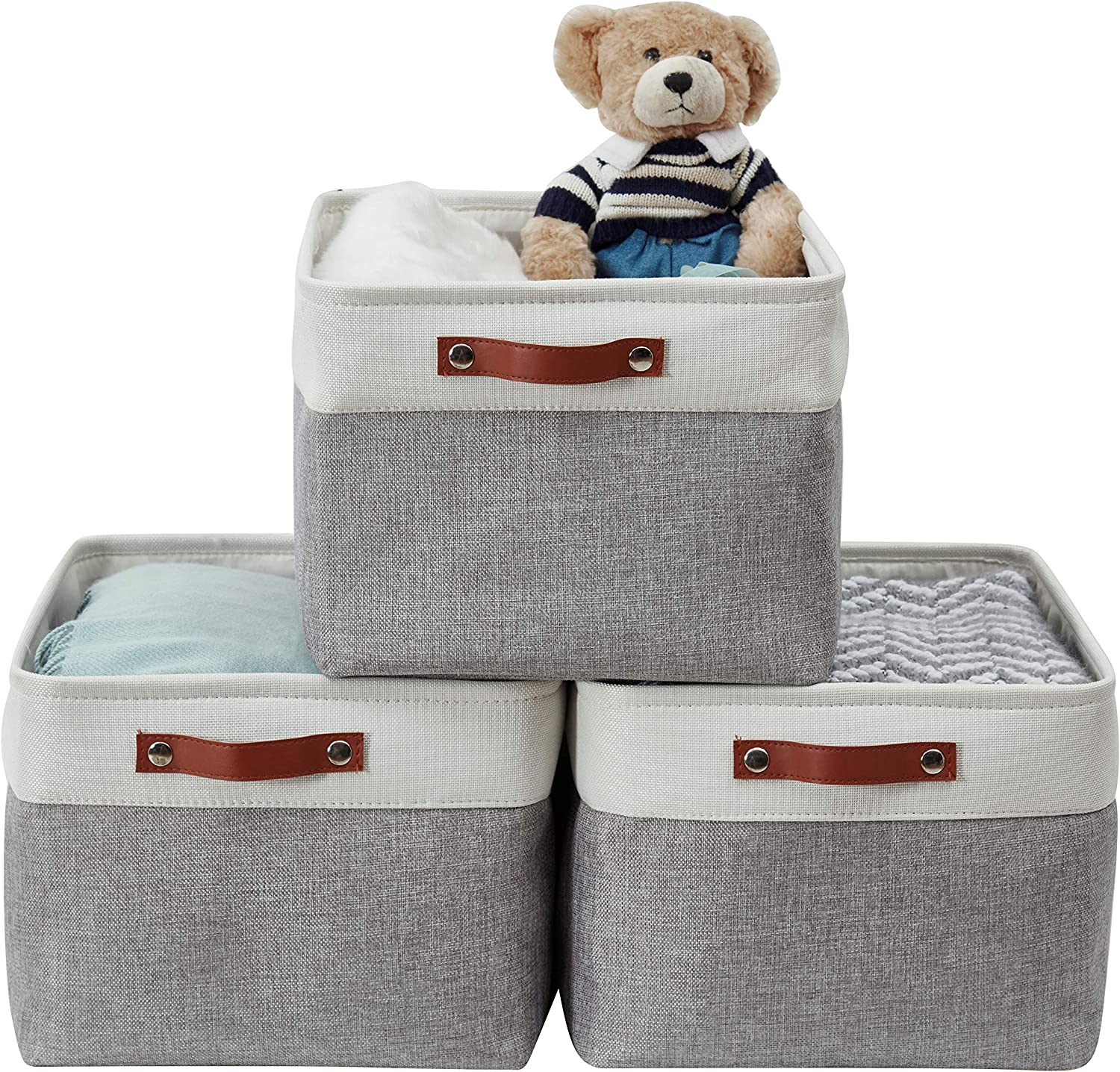 DECOMOMO Foldable Storage Bin [3-Pack] Collapsible Sturdy Cationic Fabric Storage Basket Cube W/Handles for Organizing Shelf Nursery Home Closet (Grey and White, Extra Large - 15.8 x 12.5 x 10)