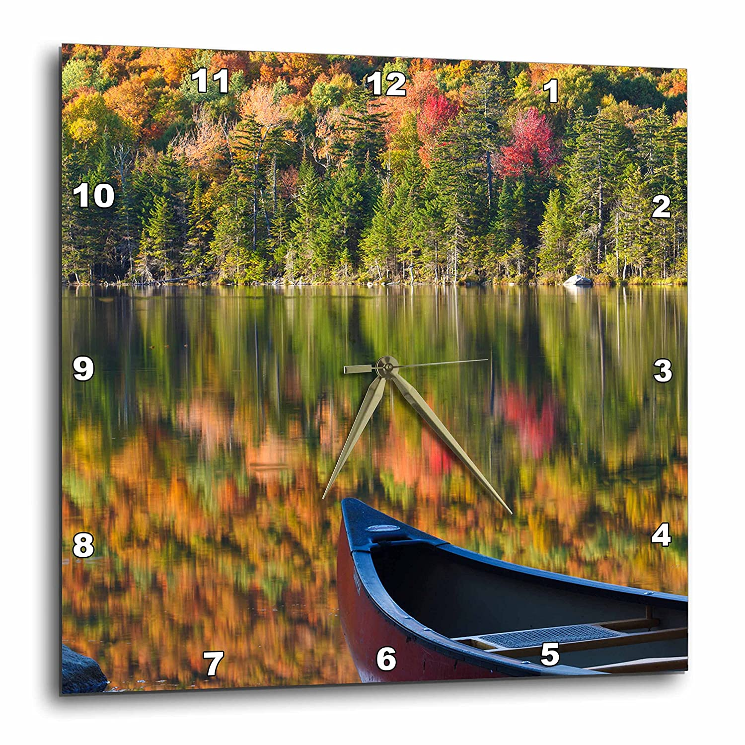 3D Rose Canoe on Pond in New Hampshires White Mountains Wall Clock 15 x 15