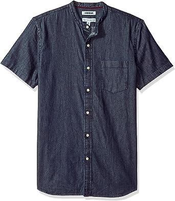 Goodthreads Mens Standard-Fit Long-Sleeve Band-Collar Denim Shirt Brand