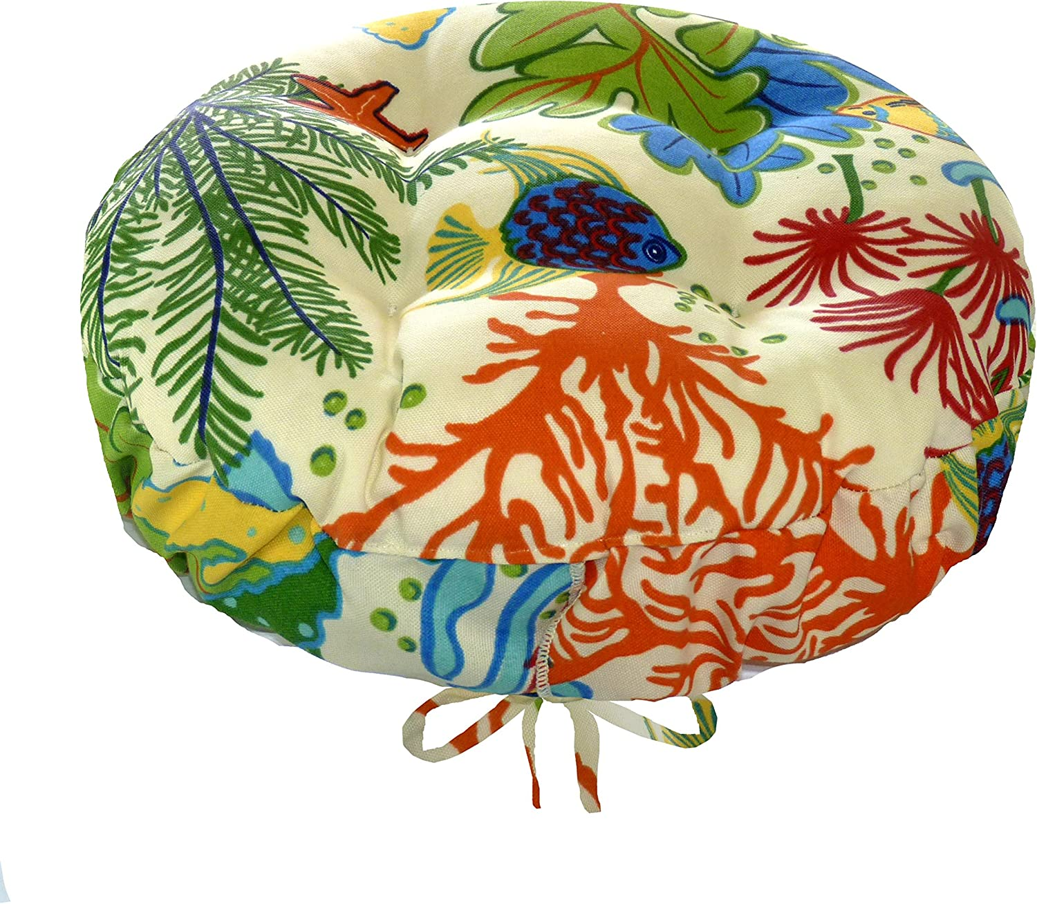 Splish Splash Bar Stool Cover with Adjustable Drawstring Yoke – Size XL – 14 15 16 Round – Latex Foam Fill Cushion – Indoor Outdoor Fade Resistant, All Weather – Tropical Fish