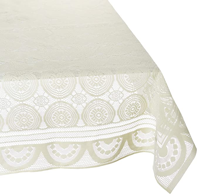 Kuber Industries Cotton Dining Table Cover for 6 Seater - Cream <span at amazon