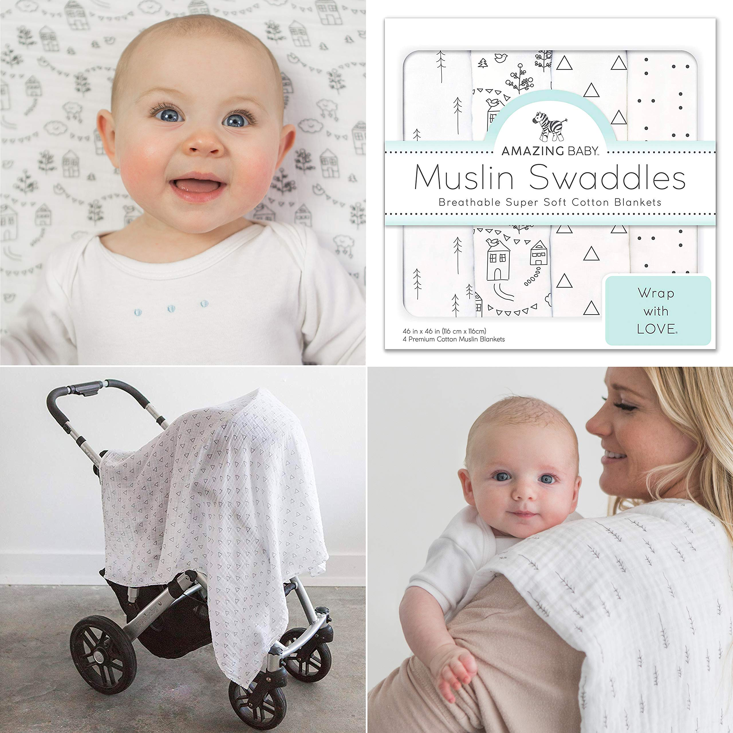 Amazing Baby Muslin Swaddle Blankets, Set of 4, Premium Cotton, Little Village and Trees, Black by Amazing Baby