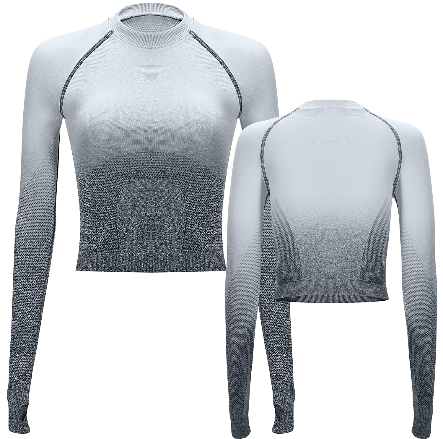 4161d47a1a14cd Amazon.com: RUNNING GIRL Ombre Seamless Crop Top Long Sleeve Layer Crew  Neck Power Stretch Gym Yoga Crop Top with Thumbholes: Clothing