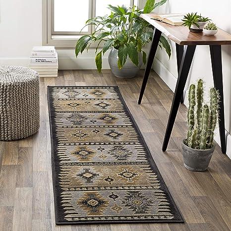 Amazon Com Hepburn Beige Black And Gray Bohemian Global Area Rug 2 2 X 7 6 Furniture Decor