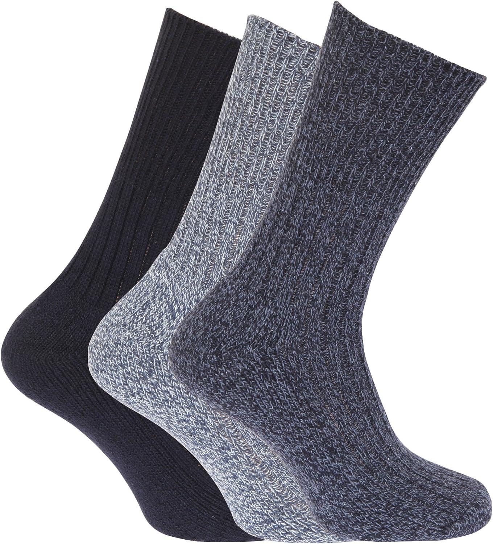 Calcetines con Mezcla de Lana sin elástico Modelo Hold hombre caballero(Pack de 3), Black and Grey, 39/45 EU: Amazon.es: Ropa y accesorios