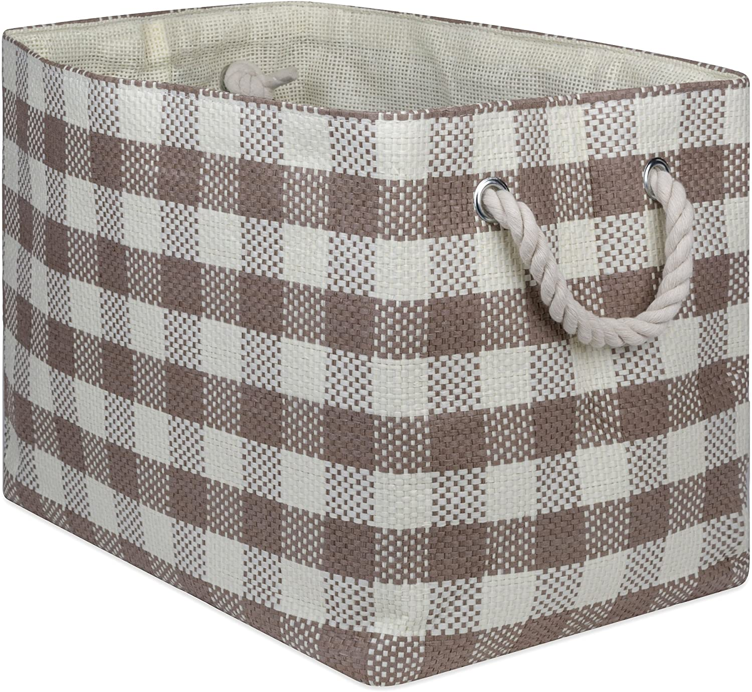 """DII Oversize Woven Paper Storage Basket or Bin, Collapsible & Convenient Home Organization Solution for Office, Bedroom, Closet, Toys, & Laundry(Medium - 15x10x12""""), Stone Checkered"""