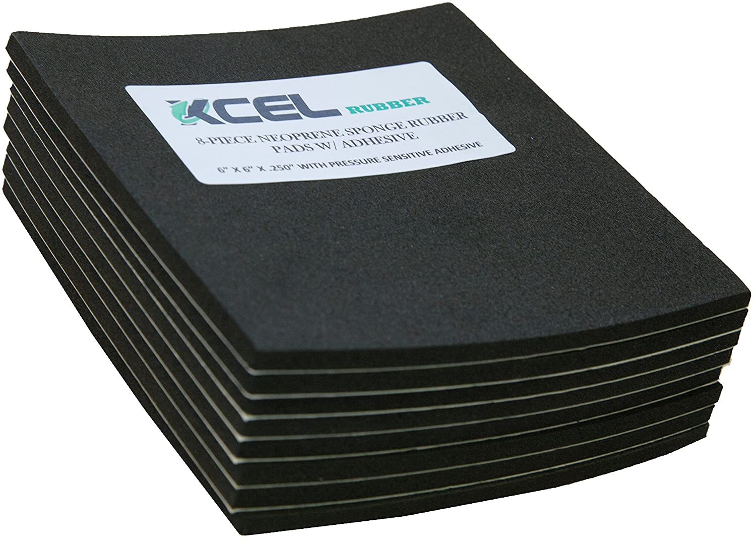 XCEL Neoprene Foam AntiVibration Pads with Adhesive 6 X 6 X 1 4 8 Pieces