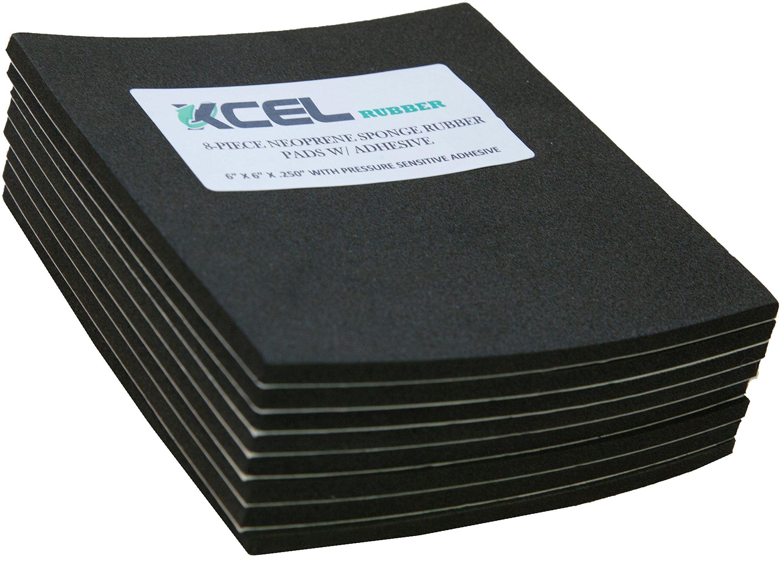 XCEL 8-Piece Sponge Neoprene Rubber Foam Anti-Vibration Pads w/Adhesive 6'' in. x 6'' in. x 1/4'' in.