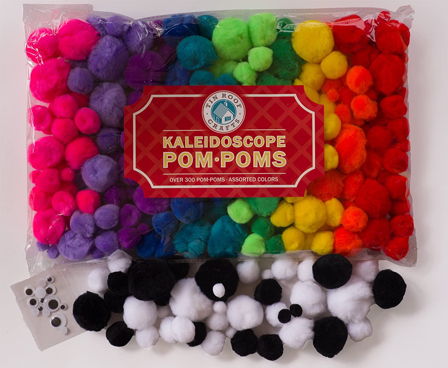 4 Different Sizes Bonus Googly Eye Package 324 Pompoms Tin Roof Crafts Deluxe Pom Poms in Hot Kaleidoscope Colors for Crafts and DIY Hobby Supplies Large Bag