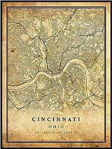 Cincinnati map Vintage Style Poster Print | Old City Artwork Prints | Antique Style Home Decor | Ohio Wall Art Gift | Vintage map Art 8.5x11