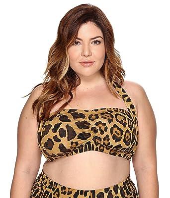 fb7ffd2b34ffe Amazon.com: Lauren by Ralph Lauren Women's Plus Size Leopard Retro Halter  Swimsuit Top, Brown, 18W: Clothing