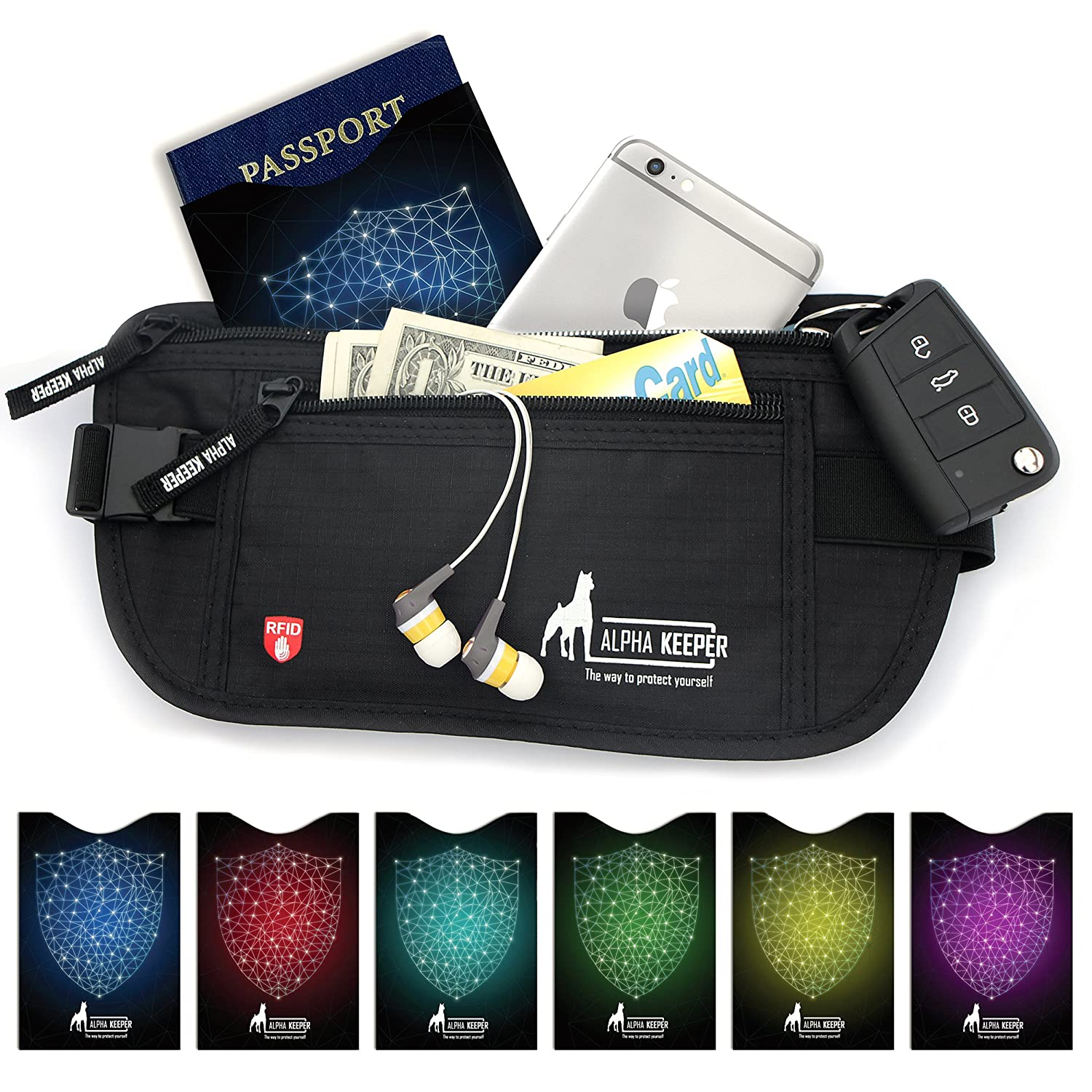 Money Belt For Travel with 1x Passport and 6x Credit...