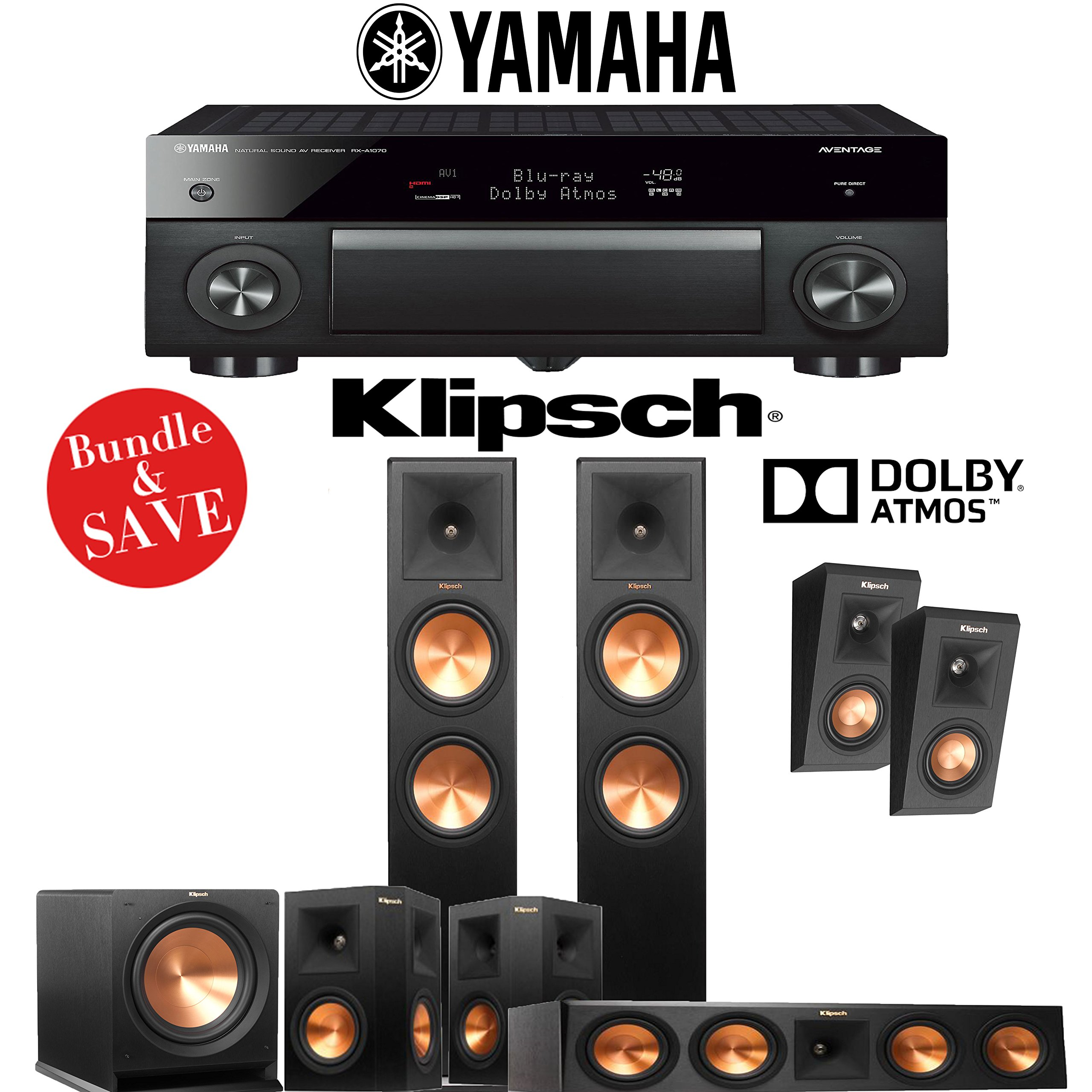Klipsch RP-280F 5.1.2 Reference Premiere Dolby Atmos Home Theater System with Yamaha AVENTAGE RX-A1070BL 7.2-Channel Network AV Receiver