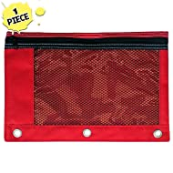 1 Red Zippered Pencil Case by School Smarts - 3 Ring Red Pencil Pouch for Binder with Mesh and plastic window. For Use in and Out of the Classroom.