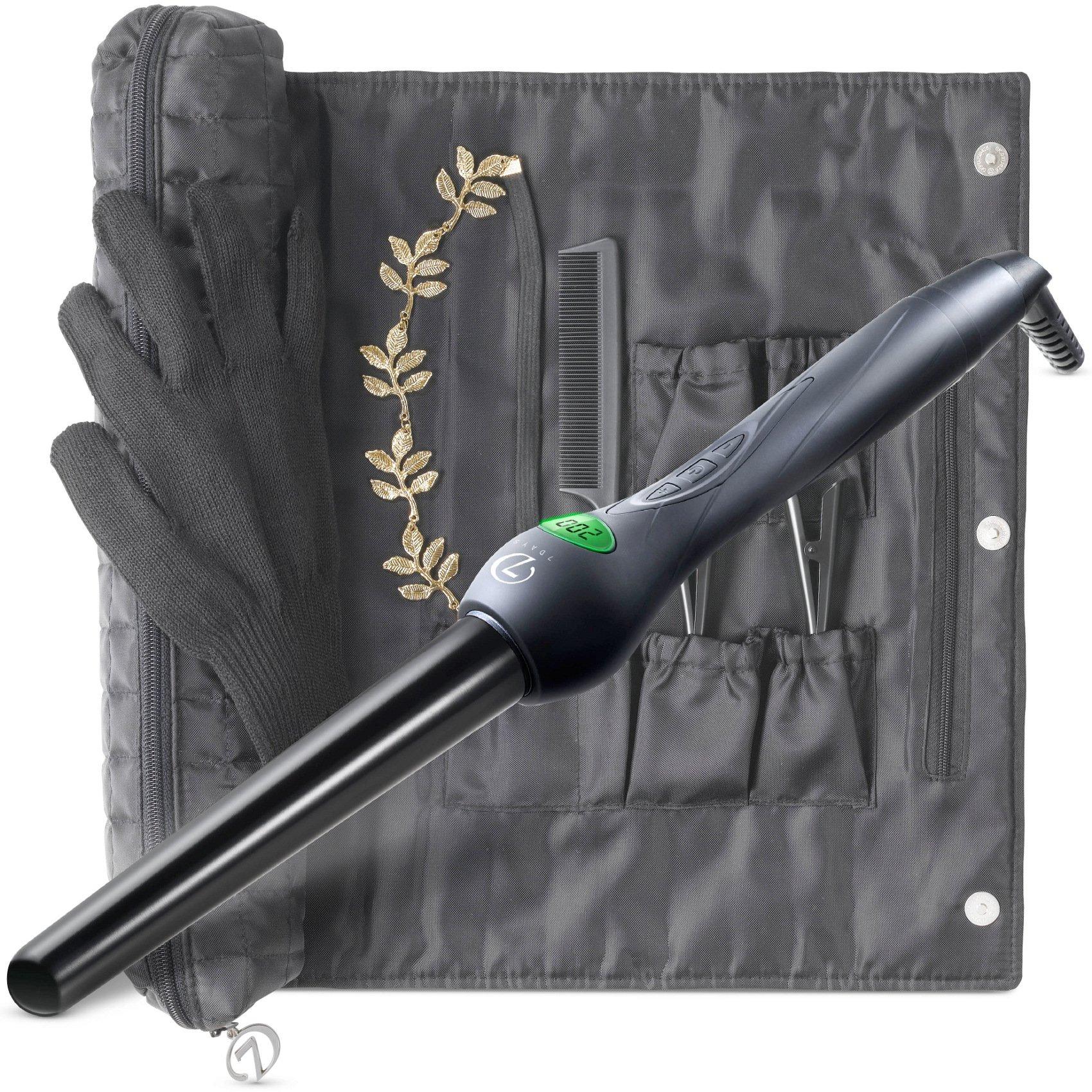7 Days Lockenstab Set mit Accessoires – Lebenslange Garantie Curler 18mm-25mm Stab mit Keramik Beschichtung & LCD Display, Alle Haartypen (Schwarz)