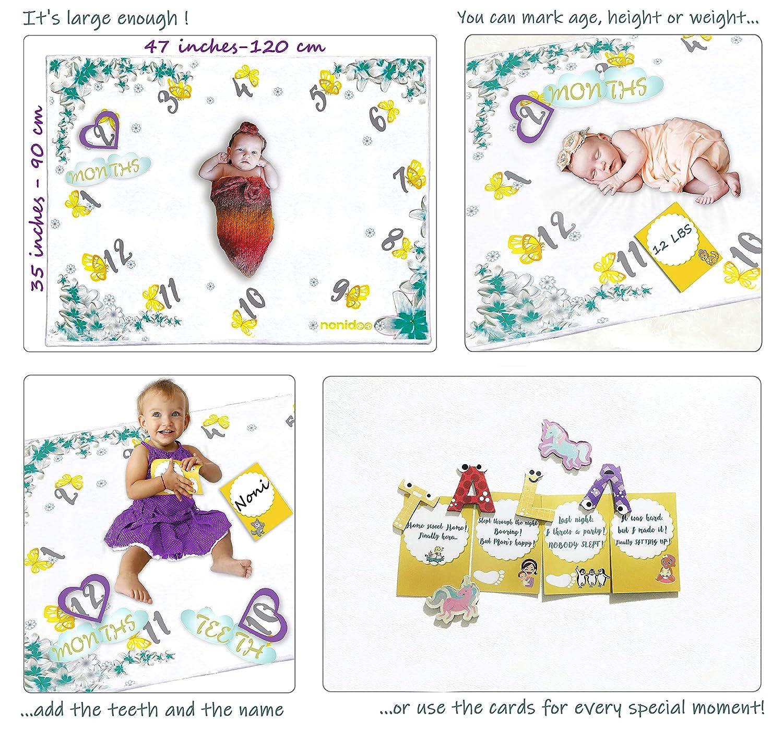 Milestone Blanket Super Soft Fluffy Nonidoo Baby Milestone Blanket for Girls /& Boys Fleece Large Toddler Blanket Baby Shower /& Baby Registry Gift