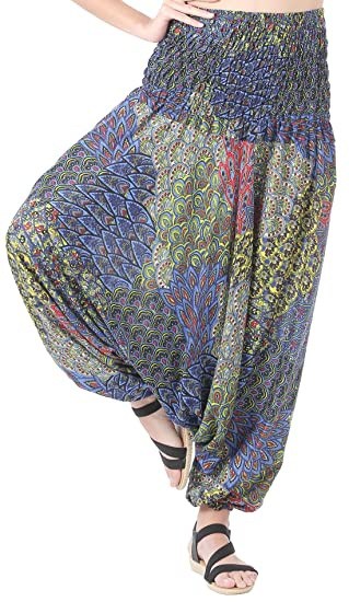 ac63aa6f39 CandyHusky Women Gypsy Hippie Boho Baggy Loose fit Elastic Jumpsuit Harem  Pants (Peacock Tail Blue