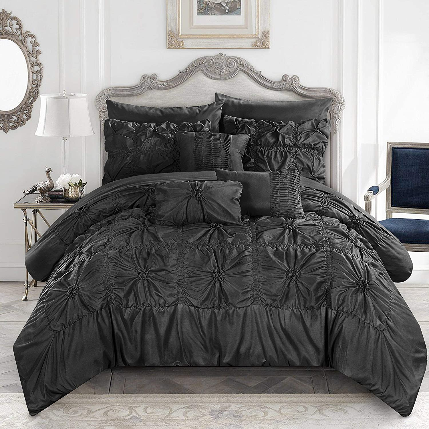 Chic Home Springfield 8 Piece Comforter Bed, Twin, Black