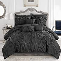 Chic Home 10 Piece Springfield Floral Pinch Pleat Ruffled Designer King Bed In a Bag Comforter Set Charcoal With sheet set