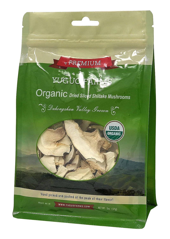 Yuguo Farms Dried Sliced Shiitake Mushrooms Certified USDA Organic, 100% Naturally Grown, NON-GMO, 2oz bag, 10 pack
