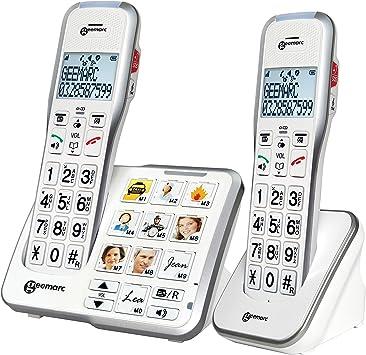 Geemarc Schnurloses teléfono para personas mayores AMPLIDECT 595-2 PHOTO contestador automático (voz/versión alemana), Foto-Tasten Beleuchtetes: Amazon.es: Electrónica