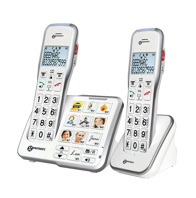 Geemarc AMPLIDECT 595 DUO Téléphones sans fil duo amplifié +50db avec fonction appel d'urgence GEEMARC TELECOM DECT595-2FOTO_WH_VDE