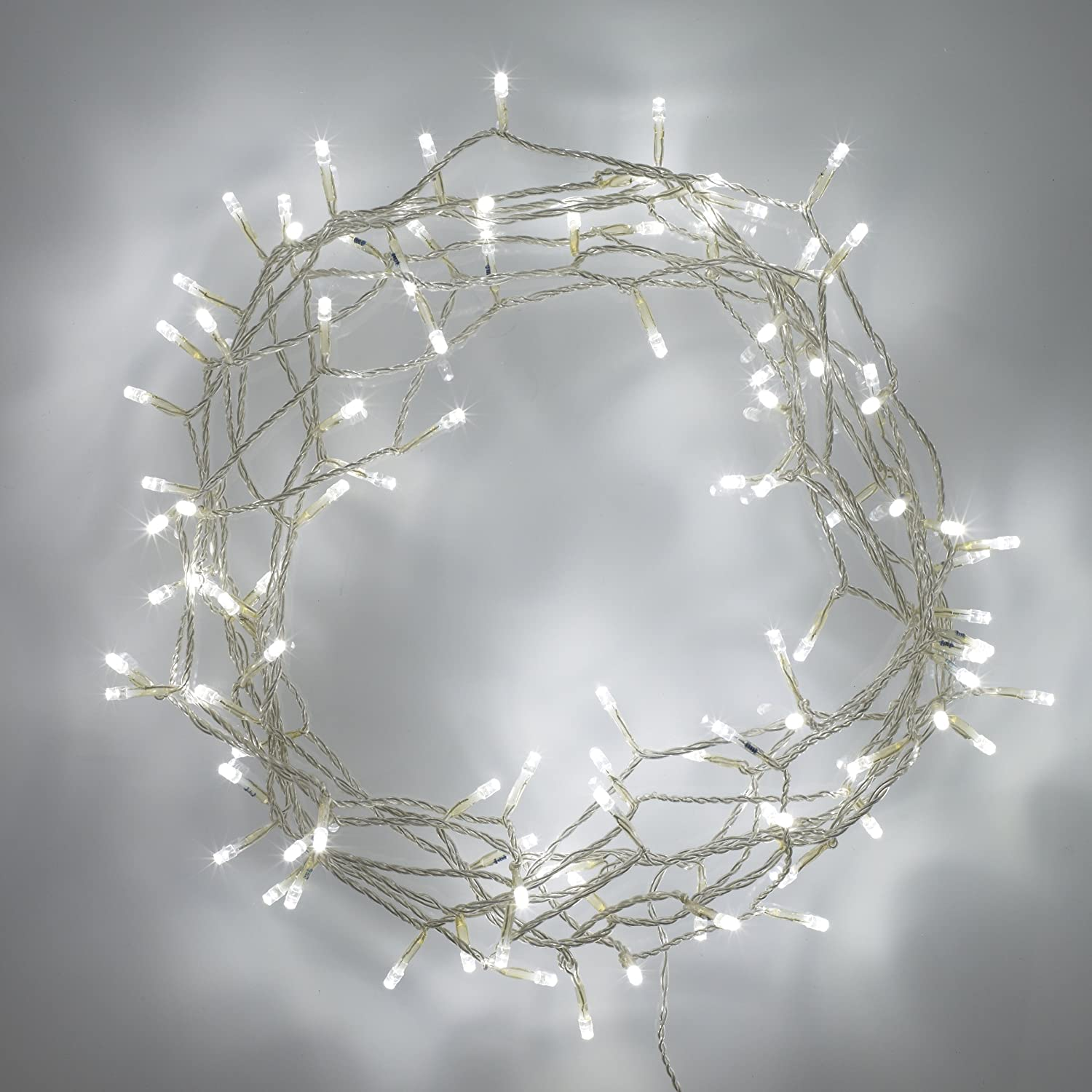 Lights4fun Indoor Fairy Lights with 100 White LEDs on 8m of Clear ...