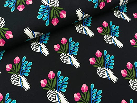 Albstoffe Tela de algodón con diseño de Hamburguesas y Besos, Color Negro: Amazon.es: Hogar