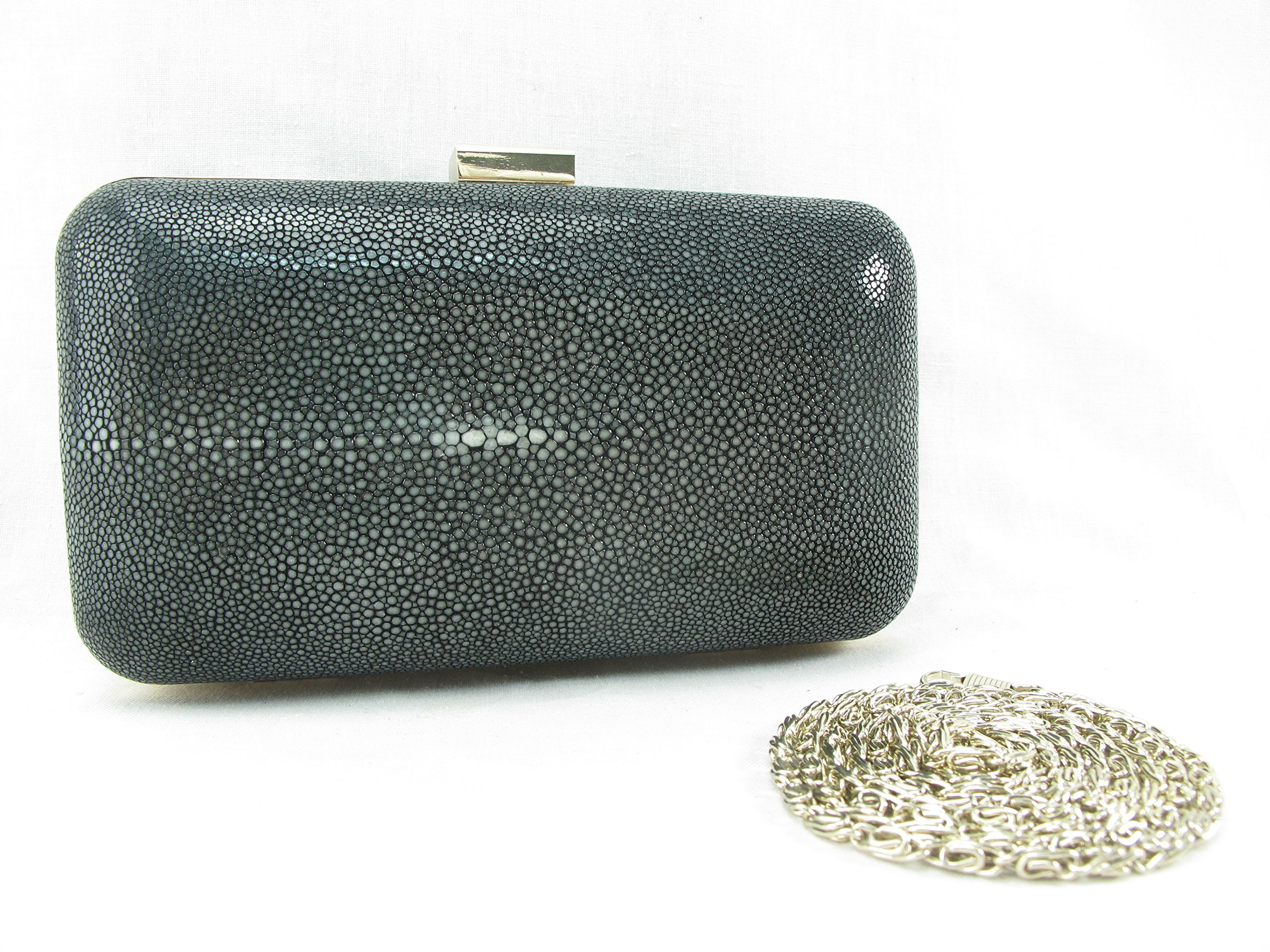 PELGIO Genuine Stingray Skin Leather Women Evening Clutch Shoulder Box Bag (Black)