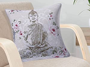 Ekavya Throw Pillow Cushion Cover 18x18 Inches Buddha Cushion Case for Home Couch Sofa Bench Decor