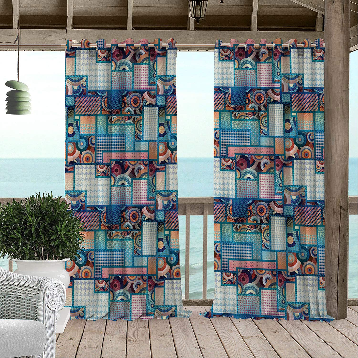 Linhomedecor Patio Waterproof Curtain Patchwork Abstract Pattern Polka Dots Differently d Rectangles and Bulls Eye Motif Multicolor doorways Grommet Printed Curtains 84 by 84 inch by Linhomedecor