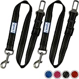 Zenify Dog Car Seat Belt Seatbelt Lead Puppy Harness - Heavy Duty Adjustable Carseat Clip Buckle Leash for Dogs Puppies Pets Travel - Pet Safe Collar Accessories Supplies Truck Safety (Black 2 Pack)