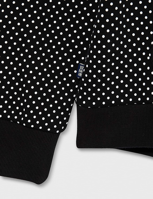 Superdry Damen Orange Label Zip Hood Cardigan Sweater Black Dot