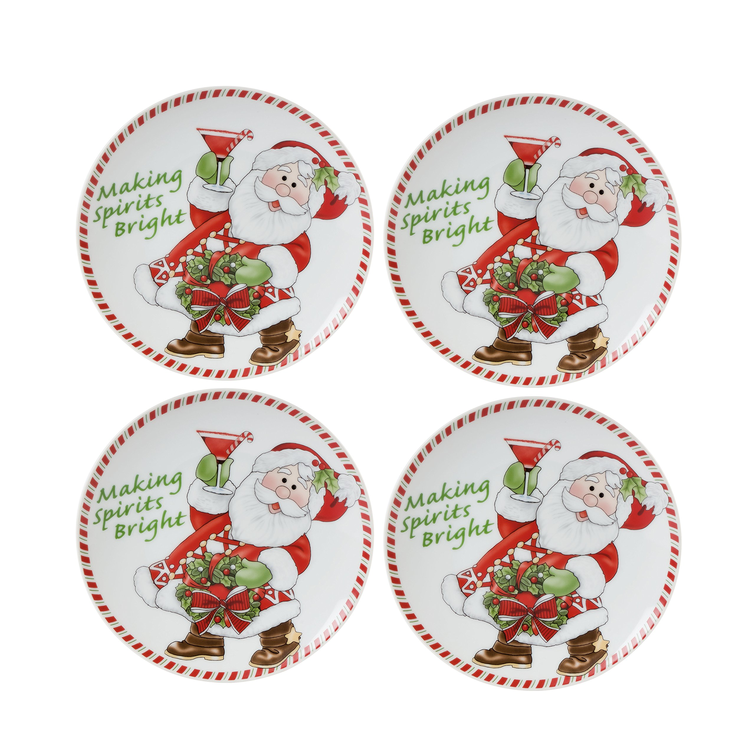 Fitz & Floyd Candy Cane Santa Collection Snack Plates