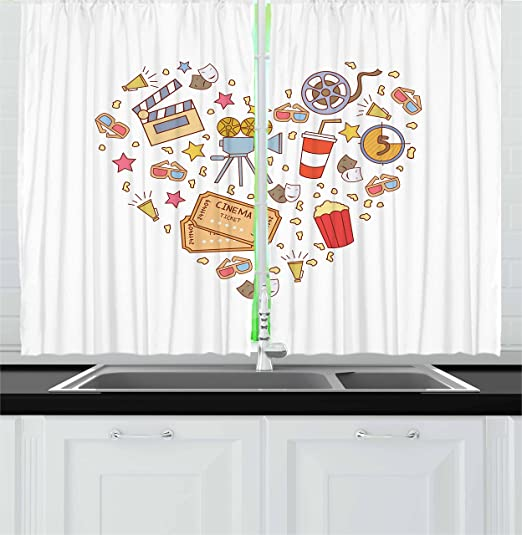 Amazon Com Ambesonne Movie Theater Kitchen Curtains Cinema Attribute Love Retro Pattern In The Shape Of A Heart Colorful Window Drapes 2 Panel Set For Kitchen Cafe Decor 55 X 39 Multicolor Home