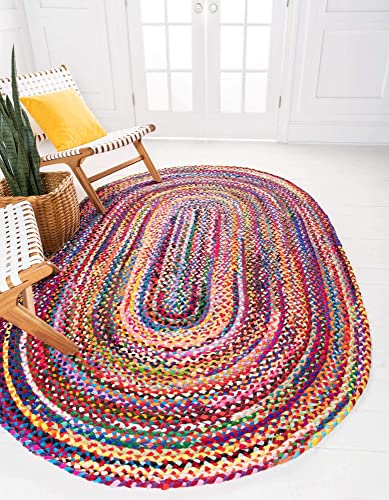Unique Loom Braided Chindi Collection Casual Modern Multi Oval Rug 3 3 x 5 0