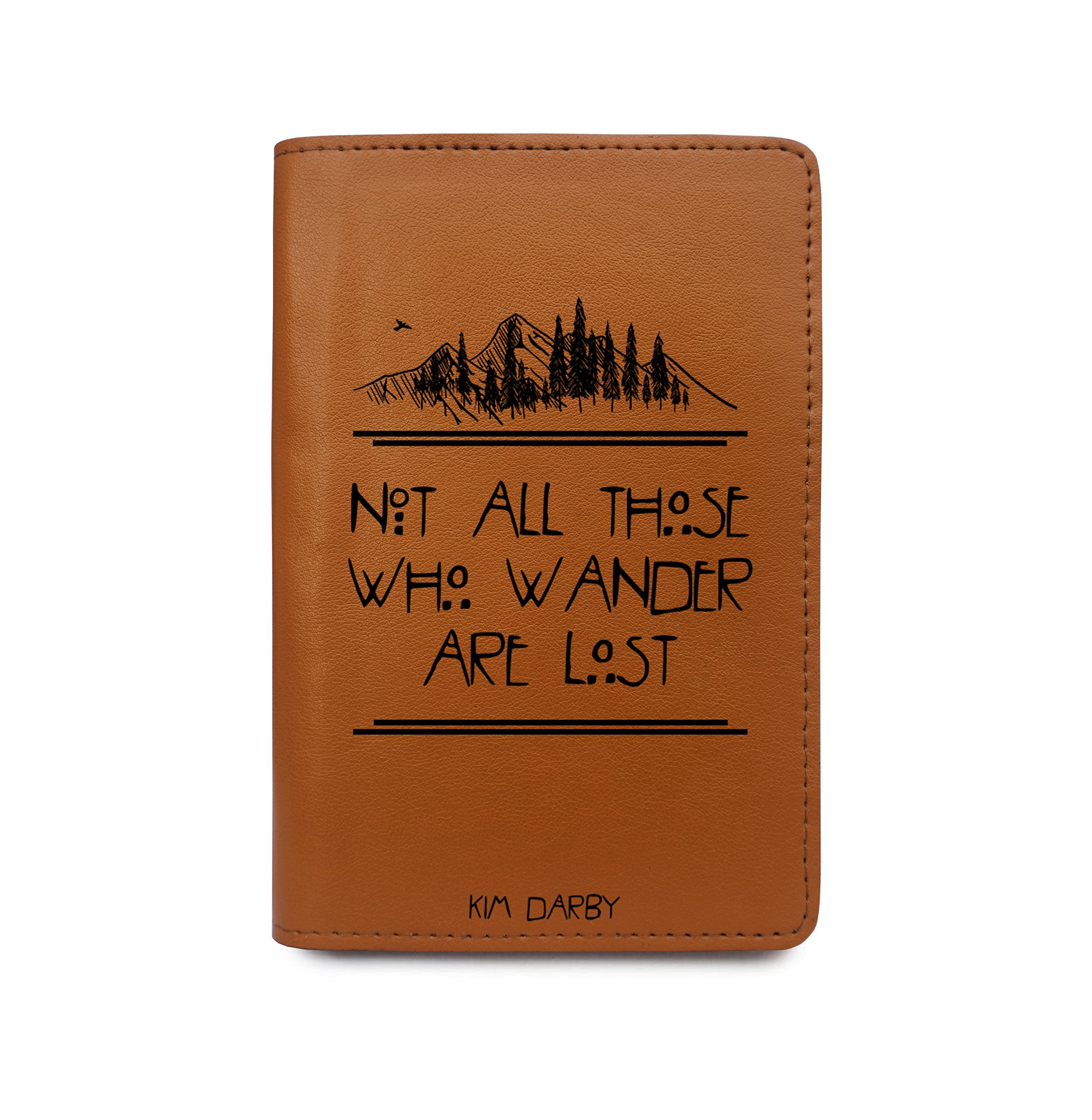 Custom Leather Passport Cover Wallet - Not All Those Who Wander Are Lost