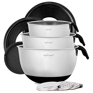 Stainless Steel Mixing Bowl Set of 3 with Non-Slip Silicon Handles, Non-Skid Bottom, Measurement Marks, Grater Attachments and Leak-Proof Lids, Black, By Chef Essential.