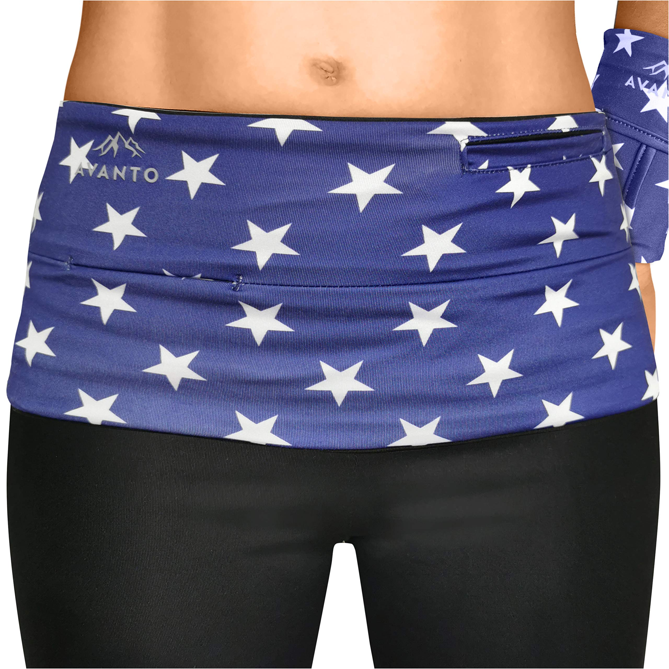 AVANTO Slim Fit Travel Money Belt with Free Wrist Wallet, Running Belt, Waist and Fanny Pack for Travel, for Women and Men, Comfortable Like Second Skin, Blue Stars, XL by Avanto Lifestyle