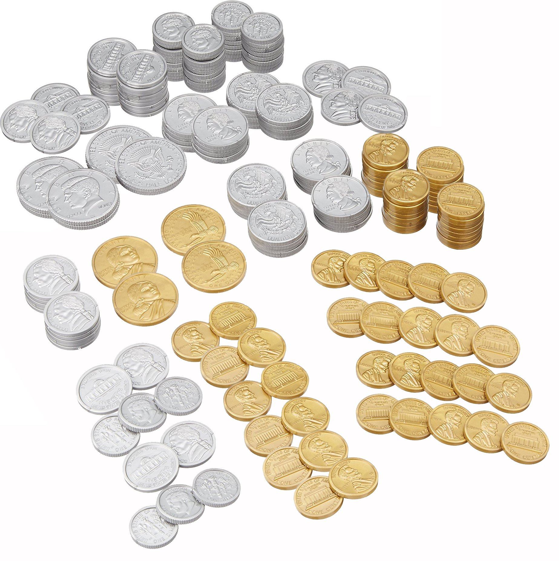 Play Money Coin Set Mega Value Pack Contains at least: 60 pennies, 40 each of Nickles, Dimes, Quarters, 8 Half-Dollars, 4 Sacageweas, with InPrimeTime Storage Jar