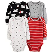 Carter's Unisex Baby 4-Pack Long-Sleeve Bodysuits (18 Months, Boys Red/Multi)