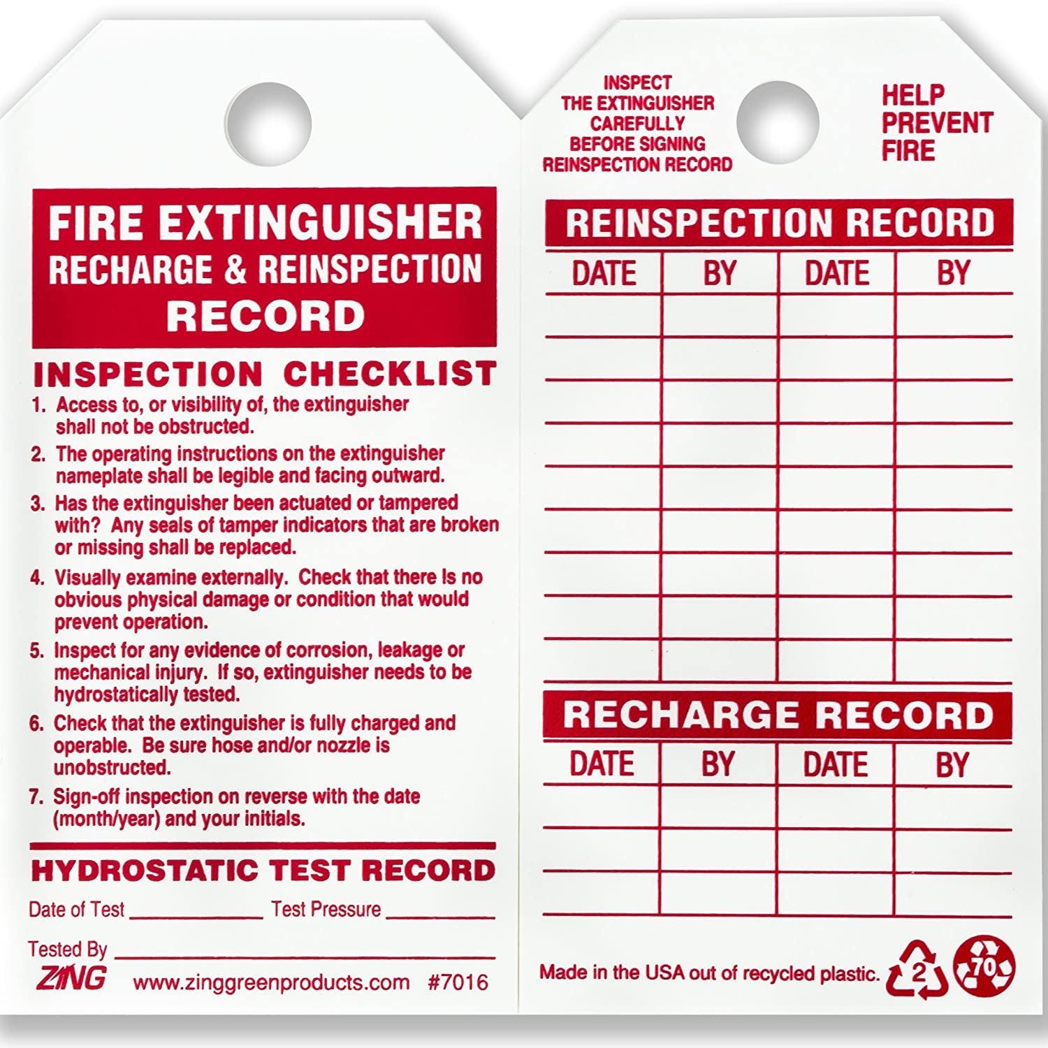 ZING 7016 Eco Safety Tag, Fire Extinguisher, 5 75Hx3W, 10 Pack