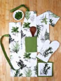 Set of Apron, Oven Mitt, Pot Holder, Pair of Kitchen Towels in a Unique Herb Garden Design, Made of 100% Cotton, Eco-Friendly & Safe, Value Pack and Ideal Gift Set, Kitchen Linen Set By CASA DECORS